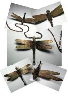 Steampunk Dragonfly necklace by Shadows-Ink