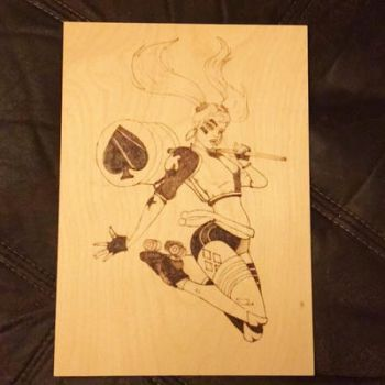 Harley Quinn pyrography wip by Blindfaith-boo