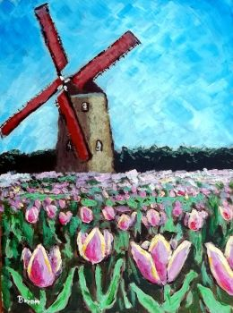 Tulip Field with Windmill by brianvds
