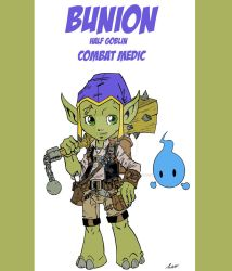 Bunion Combat Medic: Half Goblin by wonderfully-twisted