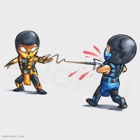 Kartoon Kombat Scorpion vs Sub Zero by snow-j