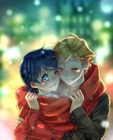 Adrien and Marinette by Mimachu