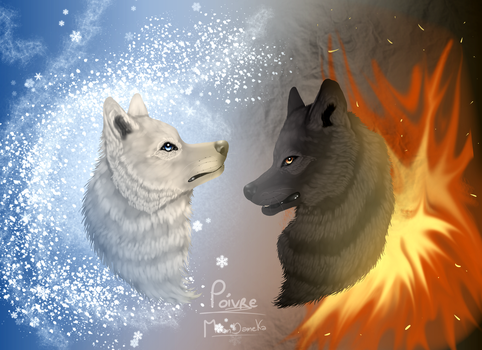 Ice and Fire Wolf (Digital Painting) by moondaneka