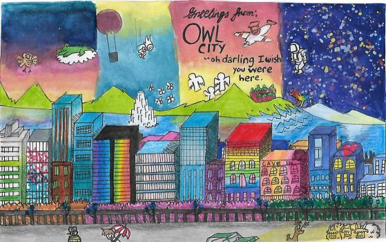 Postcard from Owl City by mabiesison