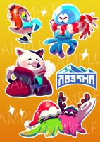 WII zine holiday stickers by DroseAttack