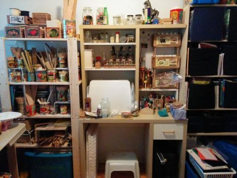 Craft Room: Wood and sewing stuff by kayanah
