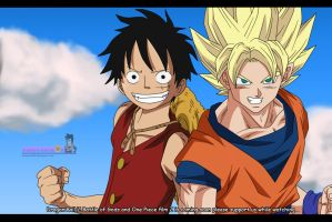 Son Goku and Monkey D. Luffy by pinkycute03