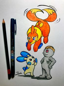 Buizel, Minun and Machop by Inoki-the-fox