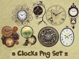 8 Clocks Png Set_2 by JEricaM