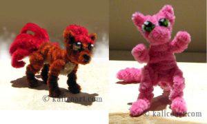 Vulpix and Mew - Pipe Cleaners by kalicothekat