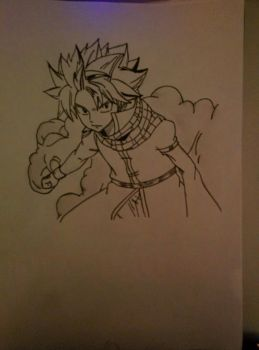 Natsu Dragneel - Pencil and Pen by xDome