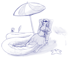 Sunbathing Lamia by LukkiStarr