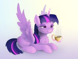 Morning Twilight Sparkle with cup of coffee by xbi
