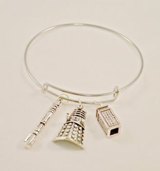 Doctor Who Charm Bangle Bracelet by AshsMysticEmporium