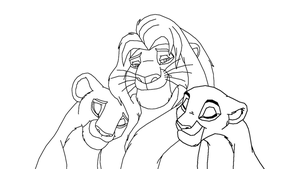 Lion and two females by ScarzDaughter