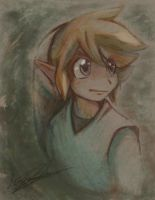 Green Link with color pencils by LunarMew