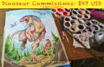 Dinosaur watercolor commissions open. by marimoreno