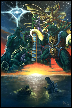 The Toybox Painting - GODZILLA VS GIGAN (1972) by AlmightyRayzilla