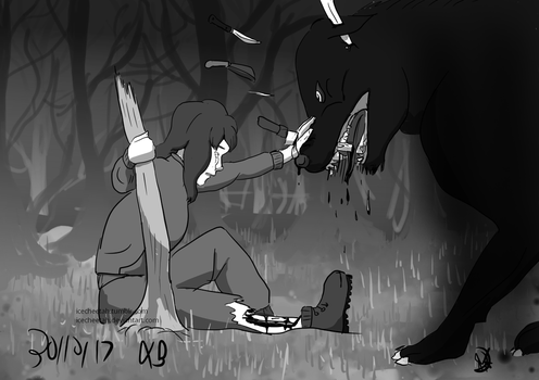 Goretober 2,8,30: Hunter, Hunted, Knives by icecheetah