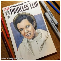 Princess Leia sketch cover by BikerScout