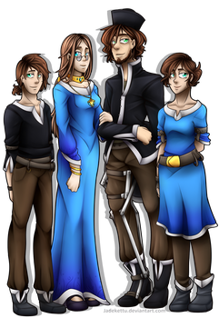 Commission - Humanised di Isera Family by AMCAlmaron