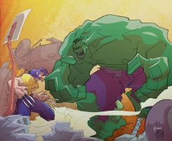 Wolverine vs Hulk Color by marespro13