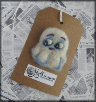 Pres-Ghoul Little Ghost Needle Felted Brooch by Unfairytales