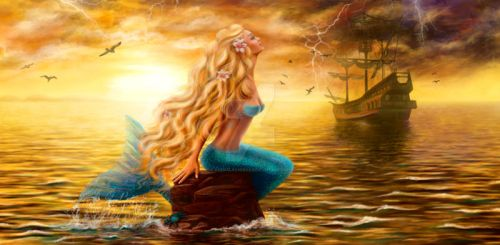 Beautiful princess Sea Mermaid with Ghost Ship at by AlenaLazareva