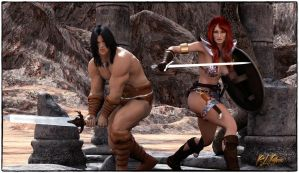 Conan and Red Sonja by MrSynnerster