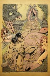 Conan Vs Snake Priestess Color by sosnw