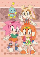 Sonic Poster - Retro Rosy Cream And Tikal by Crystal-Ribbon