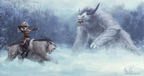 The Huntress and the Yeti by megillakitty