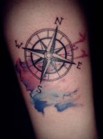 Watercolor Compass Tattoo by apskull