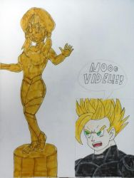 Videl Turned Into a Golden Statue by JQroxks21