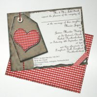 Gingham Heart Wedding Invitation by GraphicEmbers