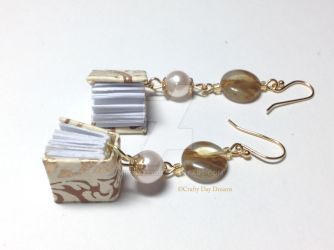 Gold Book Earrings by Midgit2230