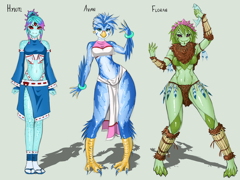 Starbound Races - Females by RoninDude