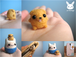 Miniature Felted Jake the Dog Phone Charm by xxNostalgic