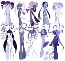 Purple Twintail Stickgirls(small practice) by MayCyan