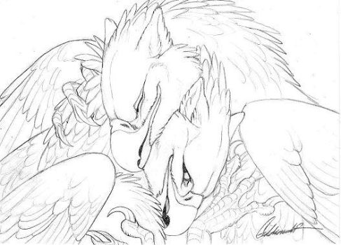 Cuddly Couples -  Gryphons01 by Goldenwolf