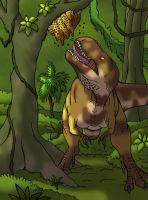 Treat for Tarbosaurus (Colored Version) by TyrannoNinja