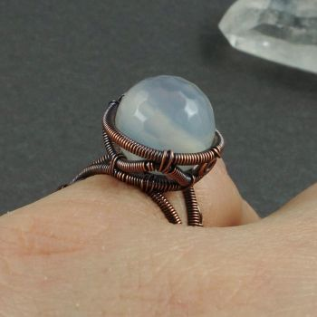 Copper and White Agate Ring by Gailavira