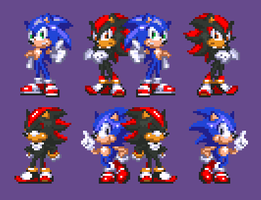 Sonic and Shadow - Gen by PixelPower23