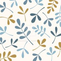 Assorted Leaves Blues Gold Cream by NatPaskell