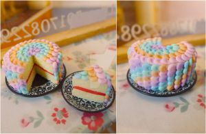 Pastel rainbow cake 1/6 scale by LittlestSweetShop
