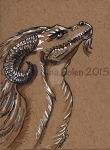 Dragon ACEO on toned paper #2 by The-GoblinQueen