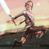 Rey having fun (cartoony version) by sempernow