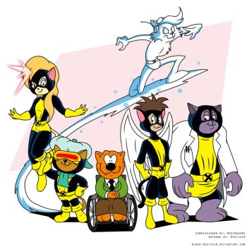 Heathcliff and the Catillac Cats as original X-Men by Greyman101