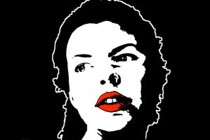Portrait Black and white stencil with red lips by muffinn2