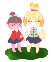 Isabelle and Lottie~ by wolfgirlpan